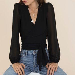 Hestia Wrap Front Black Blouse w/Long Sleeves - S